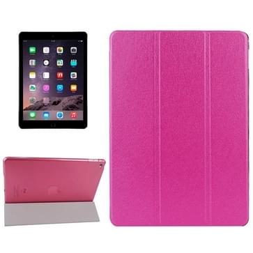 Silk structuur Frosted PC Back Shell Smart Cover lederen hoesje met houder en slaap functie voor iPad Air 2(roze)