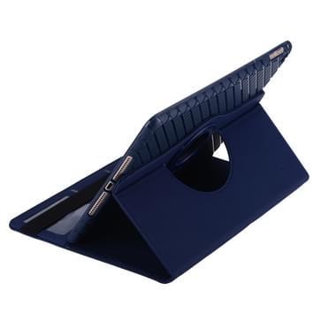 360 graden draaiend Smart Cover lederen hoesje met houder & opbergruimte voor pinpassen voor iPad Air 2 / iPad 6(donker blauw)