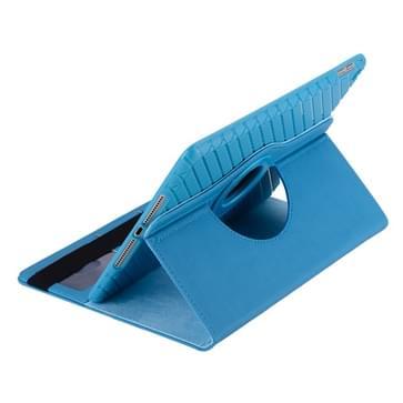 360 graden draaiend Smart Cover lederen hoesje met houder & opbergruimte voor pinpassen voor iPad Air 2 / iPad 6(blauw)