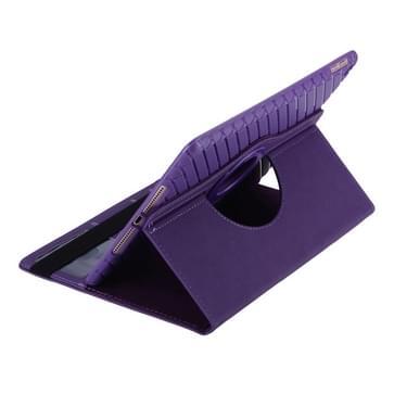 360 graden draaiend Smart Cover lederen hoesje met houder & opbergruimte voor pinpassen voor iPad Air 2 / iPad 6(paars)