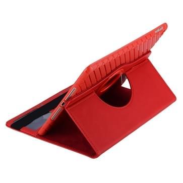 360 graden draaiend Smart Cover lederen hoesje met houder & opbergruimte voor pinpassen voor iPad Air 2 / iPad 6(rood)