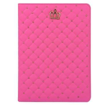 iPad Air 2 / iPad 6 horizontaal Plaid en kroontje structuur PU leren Hoesje met houder (hard roze)
