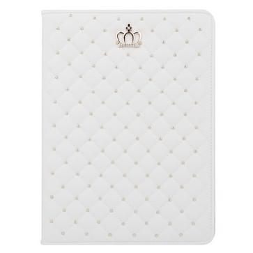 iPad Air 2 / iPad 6 horizontaal Plaid en kroontje structuur PU leren Hoesje met houder Wit