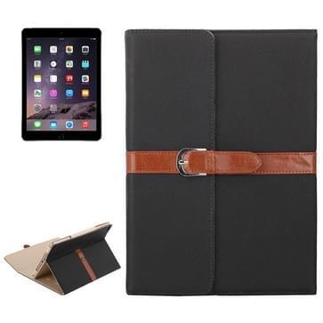 iPad Air 1 & 2 / iPad 5 & 6 horizontaal Business stijl patroon PU leren Hoesje met gespje en drievouws houder (zwart)
