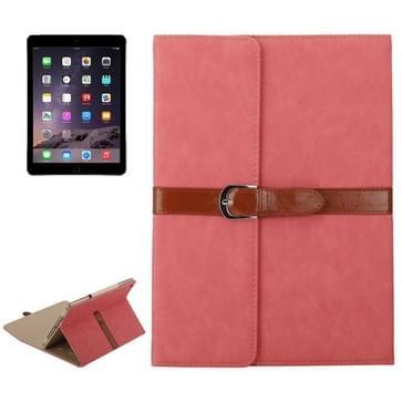 iPad Air 1 & 2 / iPad 5 & 6 horizontaal Business stijl patroon PU leren Hoesje met gespje en drievouws houder (roze)