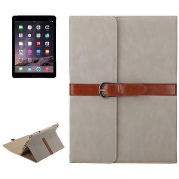 iPad Air 1 & 2 / iPad 5 & 6 horizontaal Business stijl patroon PU leren Hoesje met gespje en drievouws houder (licht grijs)