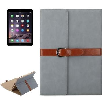 iPad Air 1 & 2 / iPad 5 & 6 horizontaal Business stijl patroon PU leren Hoesje met gespje en drievouws houder (antraciet)