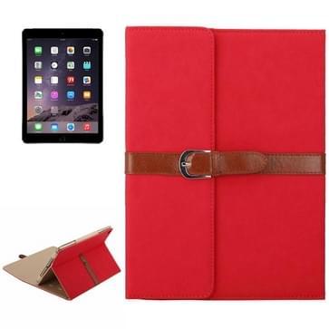 iPad Air 1 & 2 / iPad 5 & 6 horizontaal Business stijl patroon PU leren Hoesje met gespje en drievouws houder (rood)