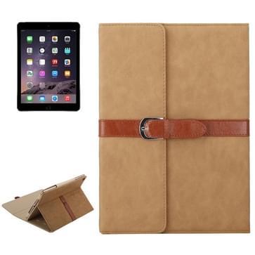 iPad Air 1 & 2 / iPad 5 & 6 horizontaal Business stijl patroon PU leren Hoesje met gespje en drievouws houder (licht bruin)