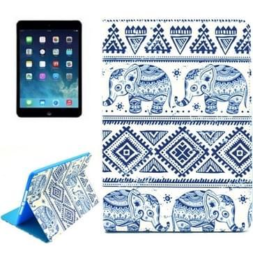 iPad Air 2 / iPad 6 horizontaal Tribal olifanten patroon PU leren Smart Hoesje met houder en slaap / ontwaak functie