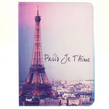 iPad Air 2 / iPad 6 horizontaal Eiffeltoren Paris patroon PU leren Smart Hoesje met houder en slaap / ontwaak functie