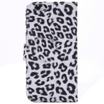 iPhone 6 & 6S horizontaal Luipaard patroon PU leren Flip Hoesje met houder en opbergruimte voor pinpassen & geld Wit