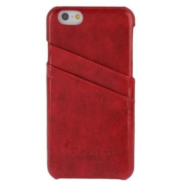 Deluxe Retro PU Leather Back Cover Case with Card Slots with Fashion Logo for iPhone 6 & 6S(Red)