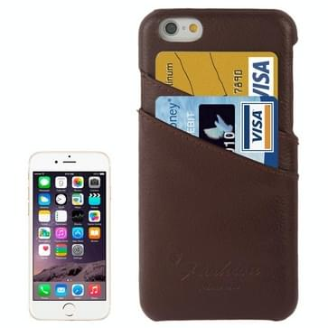 For iPhone 6 Litchi Texture Genuine Leather Back Cover Case with Card Slots and Fashion Logo(Coffee)