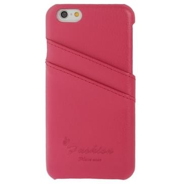 iPhone 6 & 6S Litchi structuur Leren back cover Hoesje met modieus logo en opbergruimte voor pinpassen (hard roze)