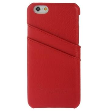 For iPhone 6 Litchi Texture Genuine Leather Back Cover Case with Card Slots and Fashion Logo(Red)
