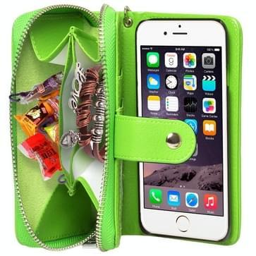 iPhone 6 & 6S horizontaal Portemonnee stijl PU leren Flip Hoesje met rits, draagriem en opbergruimte voor pinpassen & geld (groen)
