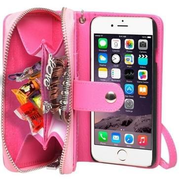 iPhone 6 & 6S horizontaal Portemonnee stijl PU leren Flip Hoesje met rits, draagriem en opbergruimte voor pinpassen & geld (hard roze)
