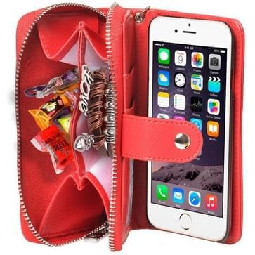 iPhone 6 & 6S horizontaal Portemonnee stijl PU leren Flip Hoesje met rits, draagriem en opbergruimte voor pinpassen & geld (rood)