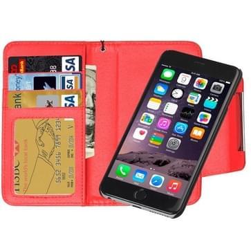 iPhone 6 & 6S horizontaal Portemonnee stijl PU leren Flip Hoesje met afneembaar back cover, magnetische sluiting en opbergruimte voor pinpassen & geld (rood)