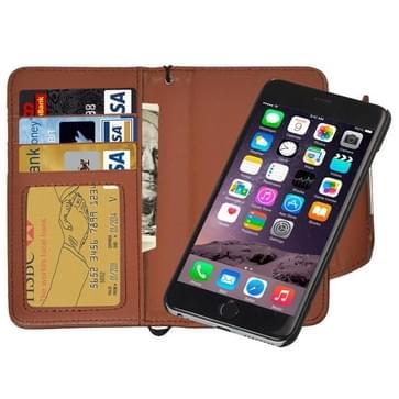iPhone 6 & 6S horizontaal Portemonnee stijl PU leren Flip Hoesje met afneembaar back cover, magnetische sluiting en opbergruimte voor pinpassen & geld (bruin)