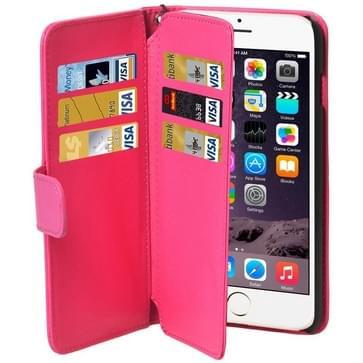 iPhone 6 & 6S horizontaal Portemonnee stijl PU leren Flip Hoesje met draagriem en opbergruimte voor veel pinpassen & geld (hard roze)