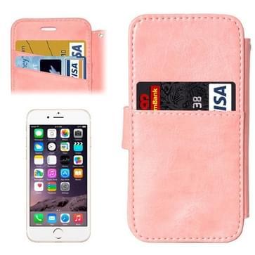 iPhone 6 & 6S horizontaal Portemonnee stijl PU leren Flip Hoesje met afneembaar back cover en opbergruimte voor pinpassen (roze)
