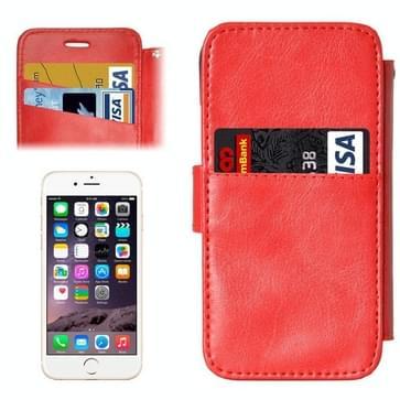iPhone 6 & 6S horizontaal Portemonnee stijl PU leren Flip Hoesje met afneembaar back cover en opbergruimte voor pinpassen (rood)
