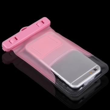 Universeel iPhone 6 & iPhone 6S / 5 / 5S / 5C waterproof transparant beschermend Hoesje / Tasje met draagriem (roze)