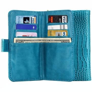 5.0 Inch universeel Crazy krokodil structuur Carry hoesjes met portemonnee & opbergruimte voor pinpassen & Lanyard voor iPhone 6 & 5 & 5S & 5C,Sony Xperia E4 & M4 Aqua(blauw)