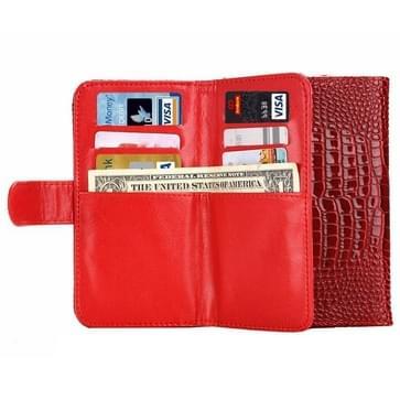 5.0 Inch universeel Crazy krokodil structuur Carry hoesjes met portemonnee & opbergruimte voor pinpassen & Lanyard voor iPhone 6 & 5 & 5S & 5C,Sony Xperia E4 & M4 Aqua(rood)