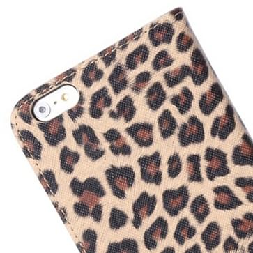 Leopard Print Pattern Horizontal Flip Leather Case with Card Slot and Holder for iPhone 6 Plus & 6S Plus(Brown)