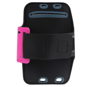 iPhone 6 Plus & 6S Plus Sport armband Hoesje met koptelefoon opening en opbergruimte voor sleutel (hard roze)