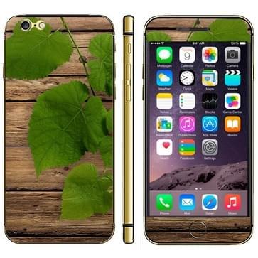 iPhone 6 Plus & 6S Plus Hout met bladeren patroon beschermende stickers