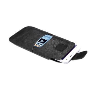 universeel Litchi structuur Vertical Style lederen hoesje met Velcro & Outer bag opbergruimte voor pinpassen voor iPhone 6 Plus & iPhone 6S Plus / Samsung Galaxy Note 4 / Note 3(zwart)