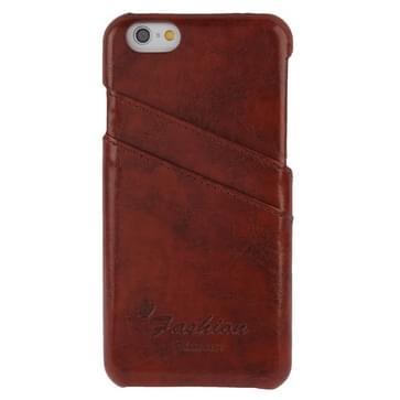 iPhone 6 & 6S Luxe retro stijl PU Leren back cover Hoesje met opbergruimte voor pinpassen (bruin)