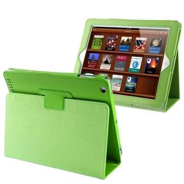 iPad 2 / iPad 3 / iPad 4 horizontaal Litchi structuur PU leren Flip Hoesje met houder en slaap / ontwaak functie (groen)