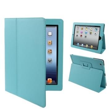 Hoge kwaliteit Litchi structuur PU leren flip hoesje met slaap / ontwaak functie voor iPad 2 / iPad 3 / iPad 4 (baby blauw)