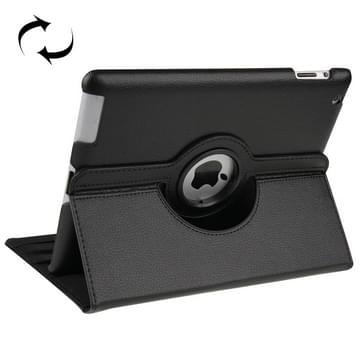 360 graden draaiend lederen hoesje met slaap / wekker functie & houder voor New iPad (iPad 3)  zwart(zwart)