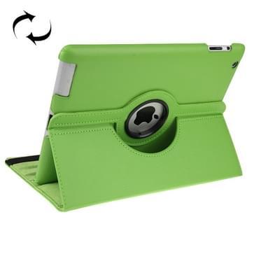 360 graden draaiend lederen hoesje met slaap / wekker functie & houder voor New iPad (iPad 3)  Green(groen)