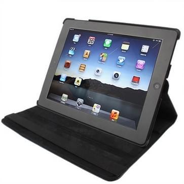 360 graden draaiend PU lederen hoesje met slaap / wekker functie & houder voor New iPad (iPad 3) / iPad 2 / iPad 4, zwart(zwart)