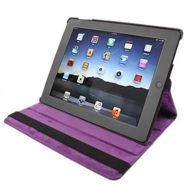 360 graden draaiend PU lederen hoesje met slaap / wekker functie & houder voor New iPad (iPad 3) / iPad 2  Dark Paars