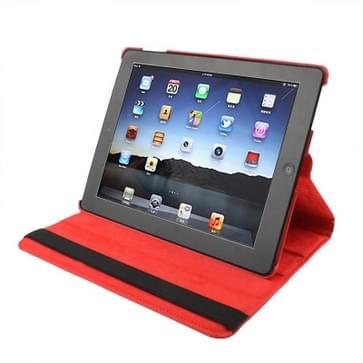 360 graden draaiend PU lederen hoesje met slaap / wekker functie & houder voor New iPad (iPad 3) / iPad 2, rood(rood)