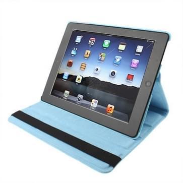360 graden draaiend PU lederen hoesje met slaap / wekker functie & houder voor New iPad (iPad 3) / iPad 2  Baby blauw