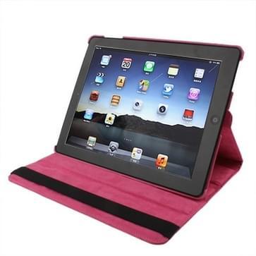 360 graden draaiend PU lederen hoesje met houder voor New iPad (iPad 3) / iPad 2 / iPad 4  rood Plum