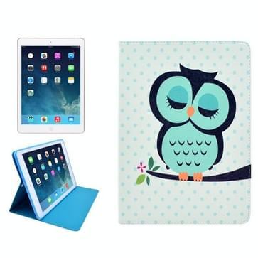 iPad iPad 2 / iPad 3 / iPad 4 horizontaal Uil patroon PU leren Hoesje met houder, slaap / ontwaak functie en opbergruimte voor pinpassen