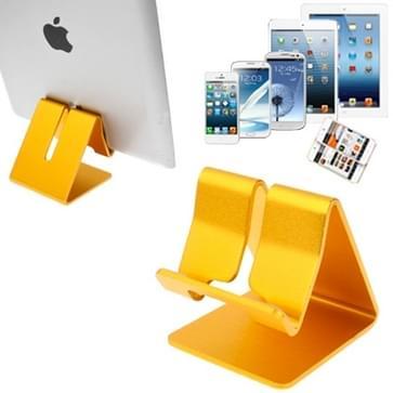 Aluminium Stand Desktop houder voor iPad, iPhone, Galaxy, Huawei, Xiaomi, HTC, Sony, en andere mobiele telefoons of Tablets(Gold)