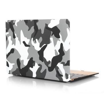 MacBook 12 inch Zwart grijs wit camouflage patroon hard Kunststof Hoesje / Case
