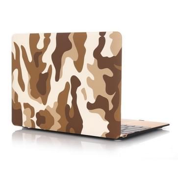 MacBook 12 inch Bruin camouflage patroon hard Kunststof Hoesje / Case