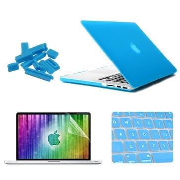 MacBook Pro Retina 13.3 inch 4 in 1 Frosted patroon Hardshell ENKAY behuizing met ultra-dun TPU toetsenbord Cover en afsluitende poort pluggen (blauw)